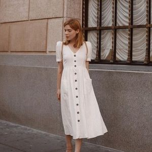Zara off white linen button up dress size large